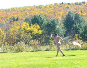 Naked kite flying