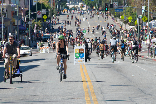 No cars in sight during CicLAvia.