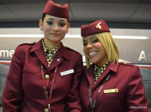 Qatar Airways flight attendants, photo by Johnny Jet.