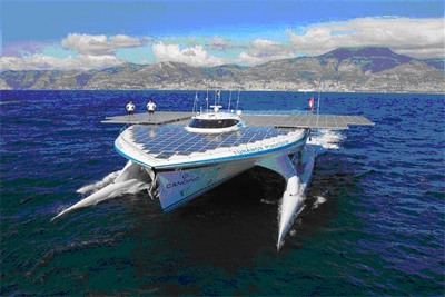 PlanetSolar catamaran, the world's largest solar-powered catamaran that is completing an around the world voyage in Monaco on May 4, 2012.