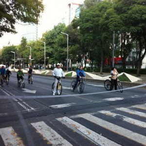 Lining up at a crosswalk to enjoy the car-free Mexican boulevards...on Sunday.