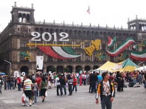 Mexico City's central square, the Zocalo, the largest in Latin America.
