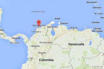 Barranquilla is located east of Cartagena, on the Caribbean shores of Colombia.