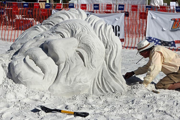 Sand sculpture during a competition in Key West, Florida.