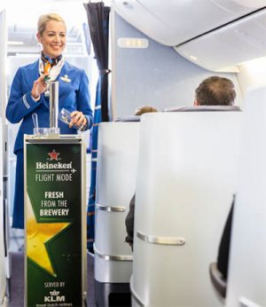 KLM's in flight draft beer service by Heineken.