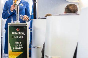 KLMs in flight draft beer service by Heineken.