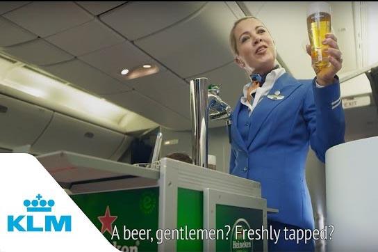 Draft Beer on an Airplane?  KLM Pioneers with Heineken
