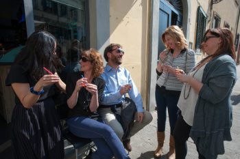 Le Nuvole_tour guests enjoying gelato in Florence, Italy.
